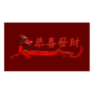 Dragón rojo chino dulce tarjetas de visita