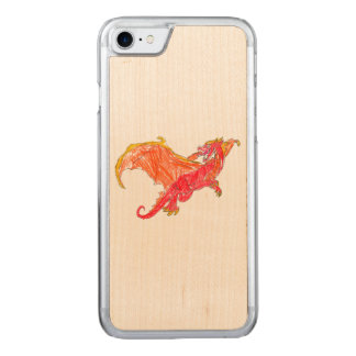 Dragón rojo con alas funda para iPhone 7