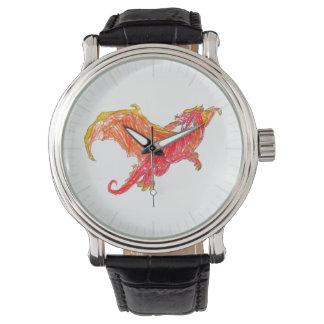 Dragón rojo con alas relojes de pulsera