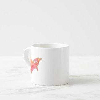 Dragón rojo con alas taza espresso