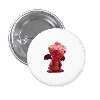 Dragón rojo con alas torpe con sonrisa loca pin redondo de 1 pulgada