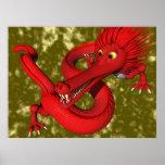 Dragón rojo (de gran tamaño) posters