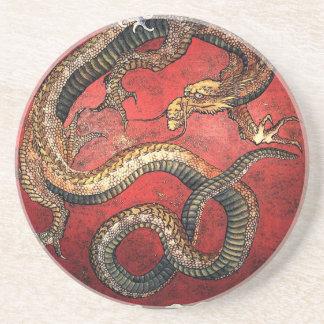Dragón rojo de Hokusai - práctico de costa de la p Posavasos Manualidades