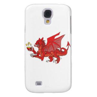 Dragón rojo de Inglaterra que goza de algo de té Funda Para Galaxy S4
