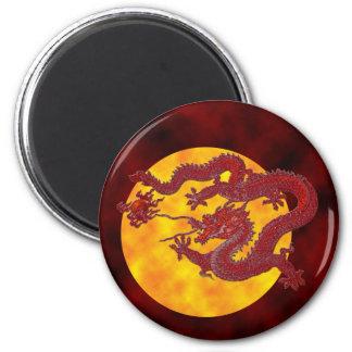 Dragón rojo de la cera imán redondo 5 cm