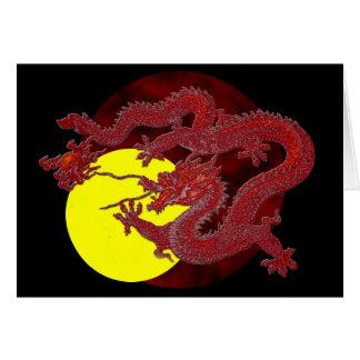 Dragón rojo de la cera tarjeta de felicitación