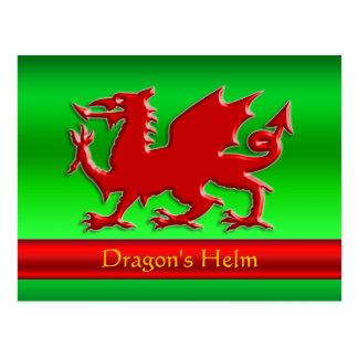 dragón rojo de la Grabar en relieve-mirada en crom Postales