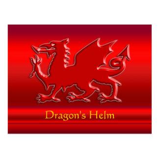 dragón rojo de la Grabar en relieve-mirada en crom Postal