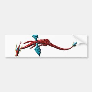 Dragón rojo de la serpiente pegatina de parachoque