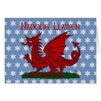 Dragón rojo de la tarjeta de Navidad de País de Ga