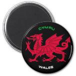 Dragón rojo de País de Gales (Cymru), negro, blanc Imán Redondo 5 Cm
