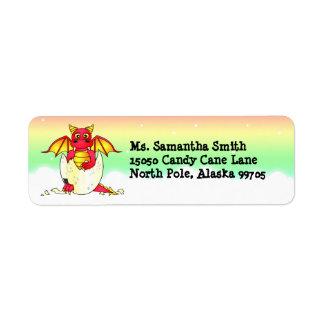 Dragón rojo del bebé lindo en etiqueta del remite etiqueta de remite