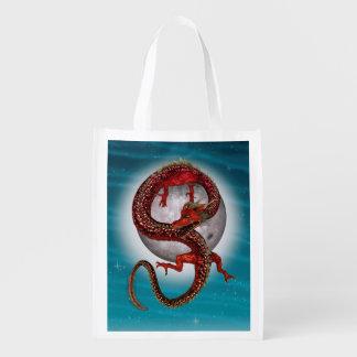 Dragón rojo del este de la fantasía bolsas reutilizables