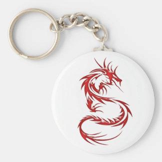 Dragón rojo del tatuaje llavero redondo tipo pin