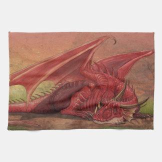 Dragón rojo el dormir toallas de cocina
