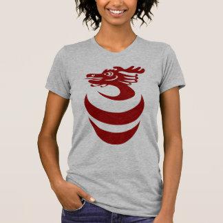 Dragón rojo en camisa del huevo