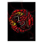 Dragón rojo en el mármol negro tarjeta de felicitación