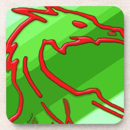 dragón rojo en rayas verdes posavasos de bebidas