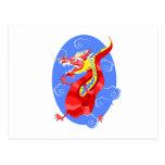 Dragón rojo enojado asiático postal
