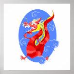 Dragón rojo enojado asiático poster