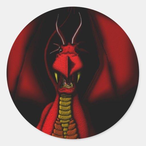 Dragón rojo enojado pegatina redonda