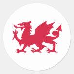 Dragón rojo Galés Pegatina Redonda