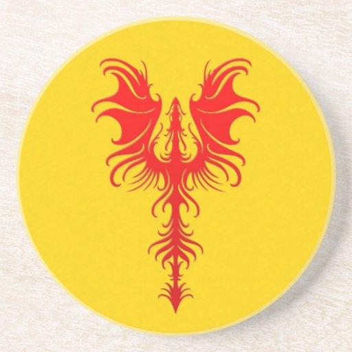 Dragón rojo gótico en amarillo posavasos para bebidas