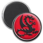 Dragón rojo imán redondo 5 cm