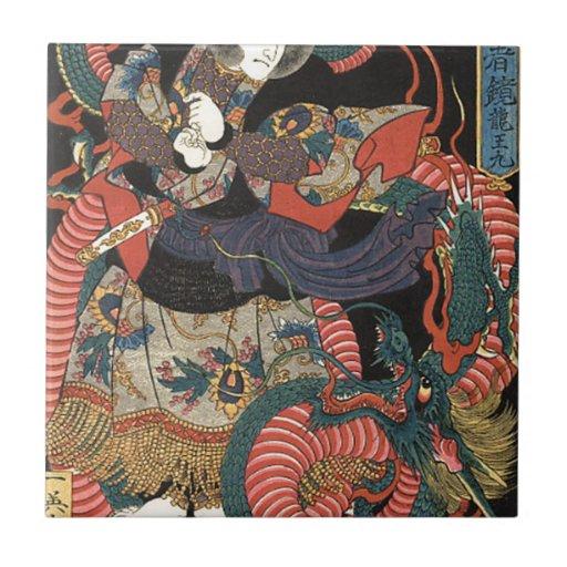 Dragón rojo japonés del vintage azulejo cuadrado pequeño