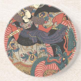 Dragón rojo japonés del vintage posavaso para bebida