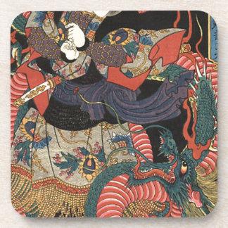 Dragón rojo japonés del vintage posavasos de bebidas