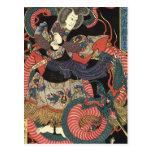 Dragón rojo japonés del vintage postales