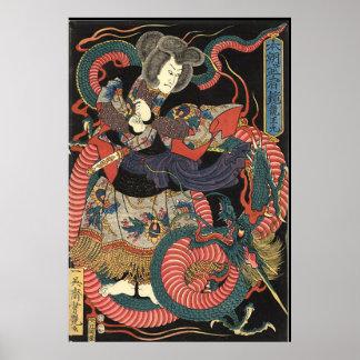 Dragón rojo japonés del vintage póster