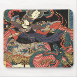 Dragón rojo japonés del vintage tapetes de ratón