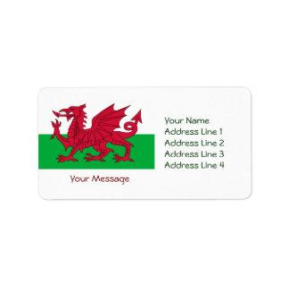 Dragón rojo patriótico de las etiquetas de direcci