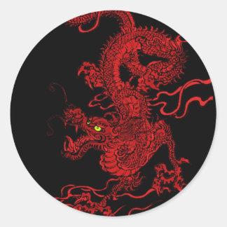 Dragón rojo etiquetas redondas
