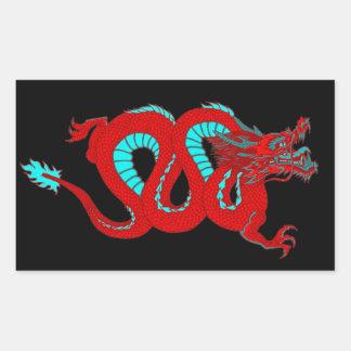 Dragón rojo pegatina rectangular