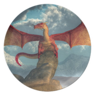 Dragón rojo plato de comida
