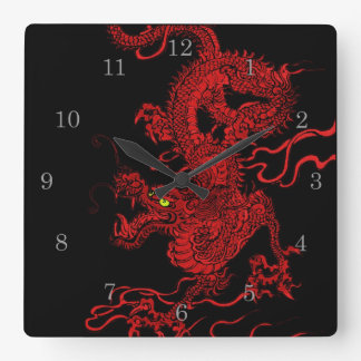 Dragón rojo reloj cuadrado