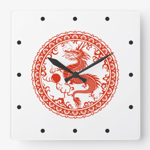 Dragón rojo reloj de pared