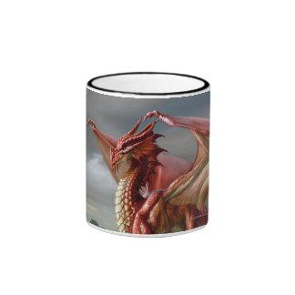 Dragón rojo taza a dos colores