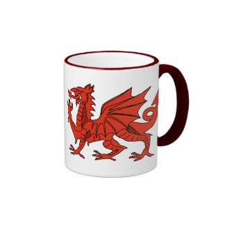 Dragón rojo tazas