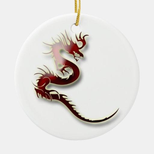Dragón rojo y de oro adorno navideño redondo de cerámica