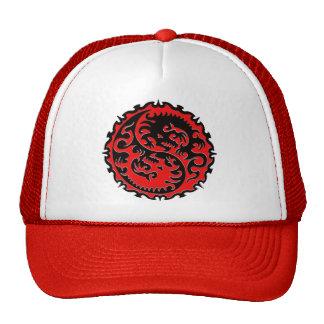 Dragón rojo y negro de Yin Yang Gorra