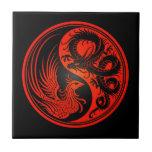 Dragón rojo y negro Phoenix Yin Yang Azulejo Cuadrado Pequeño