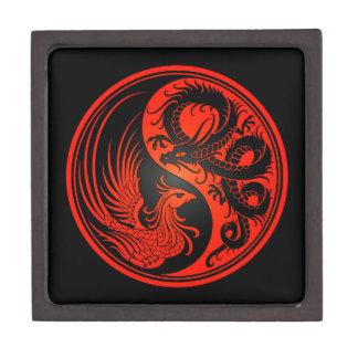 Dragón rojo y negro Phoenix Yin Yang Caja De Regalo De Calidad
