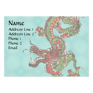 Dragón rojo y verde tarjetas de visita grandes
