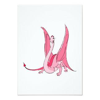 Dragón rosado bonito de la fantasía invitación personalizada