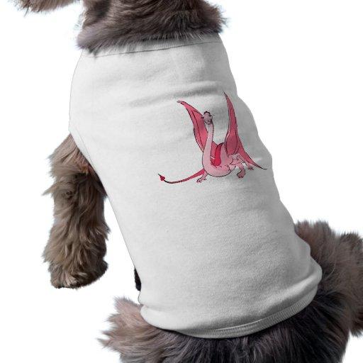 Dragón rosado bonito de la fantasía camisas de mascota