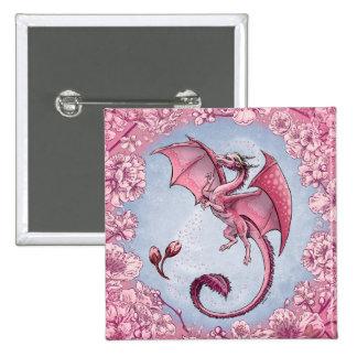 Dragón rosado del arte de la fantasía de la chapa cuadrada 5 cm